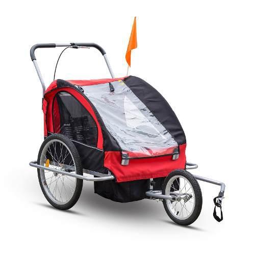 Carro Bike Trailer Porta Bebe X 2 Y Jogger Rojo