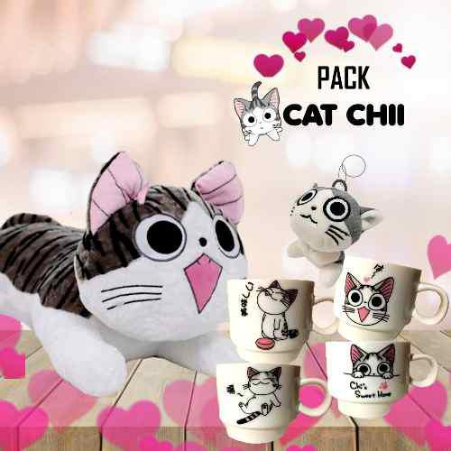 Pack gato chi peluche de gato + taza de gato+ llavero