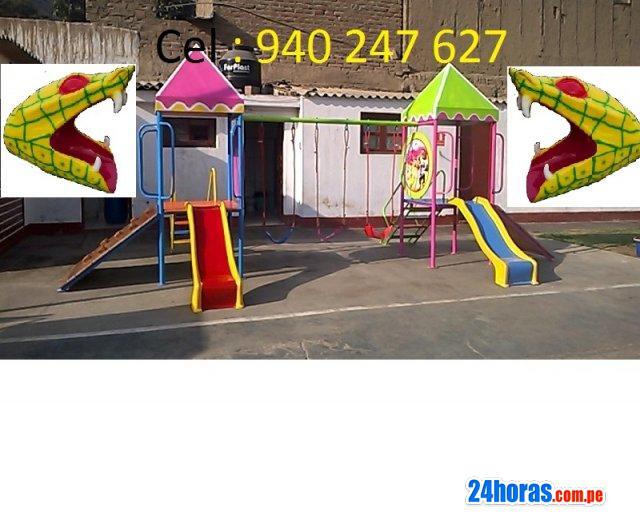 Juegos infantiles carrusel toboganes columpios lona