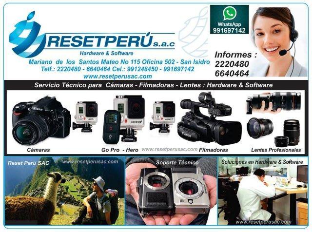 Servicio tecnico para camaras, filmadoras, lentes, gopro