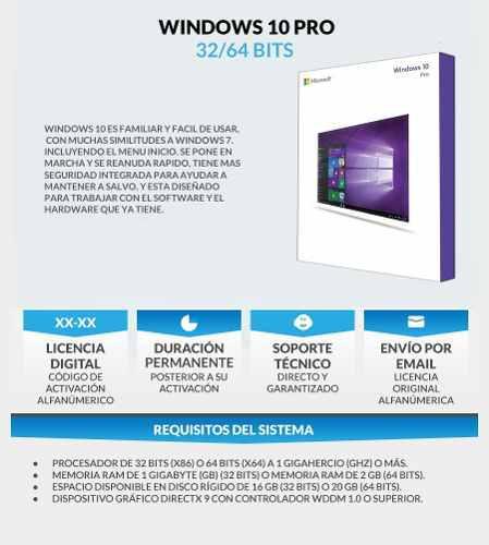 Window 10 pro / licencia / notebook o pc / original