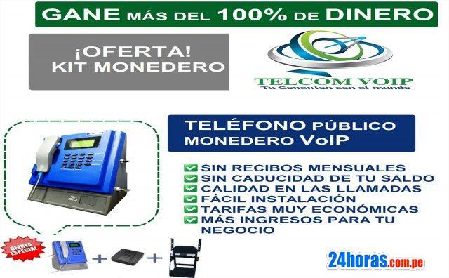 Telefonos monederos voip gana 100 % con nuestro servicio