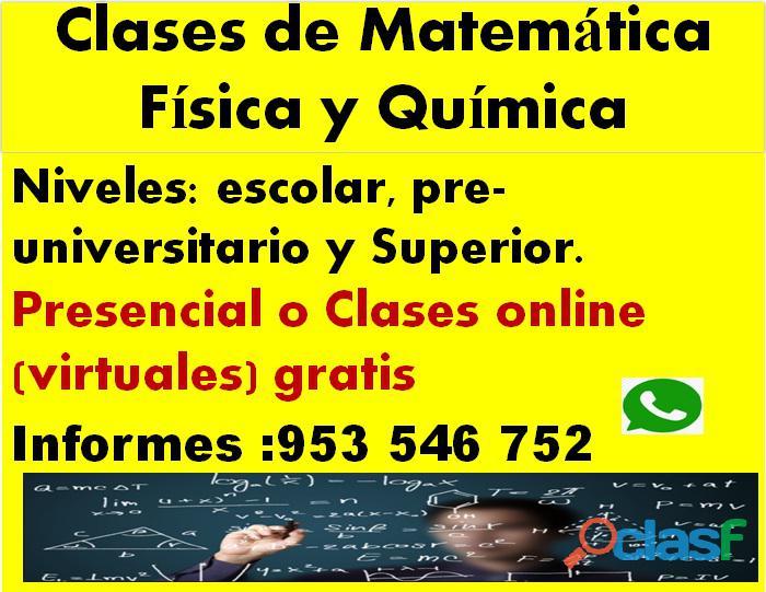 Clases de matemáticas física y química presencial o en línea gratis cel 953546752
