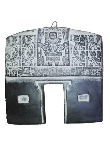 Adorno piedra portada del sol 9cm artesania souvenir regalo