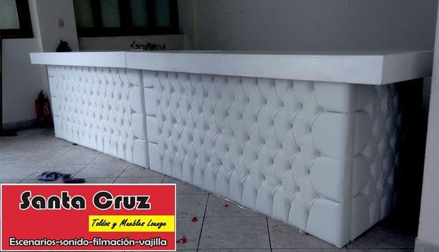 Alquiler barra capitone, zonas lounge, sillas, toldos, etc