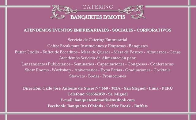 Catering banquetes de motis buffets, coffee break,