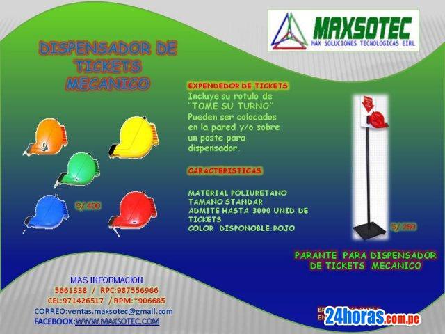 Dispensador mecanico c/rojo y parante de metal/maxsotec eirl