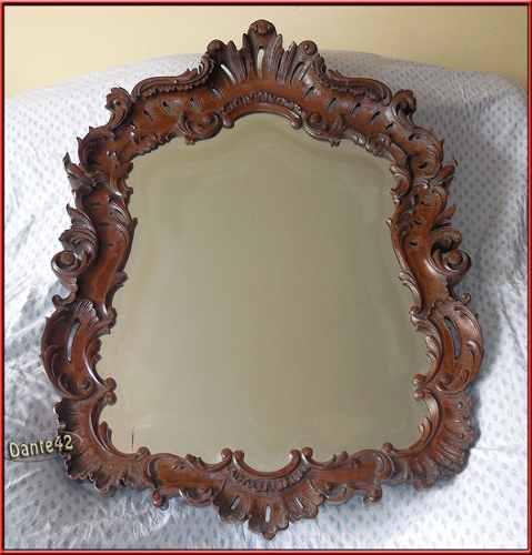Dante42 antiguo espejo biselado tallado madera cedro