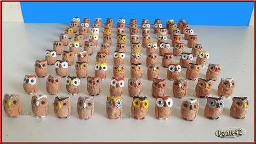 Dante42 pack 90 animales miniaturas ceramica buhos