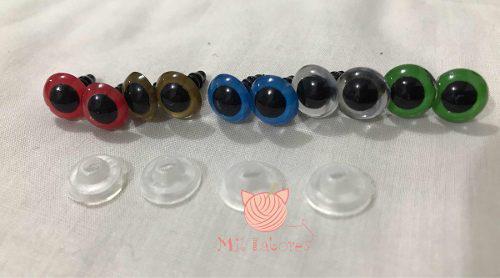 Ojos de seguridad de colores de plástico p/amigurumis de