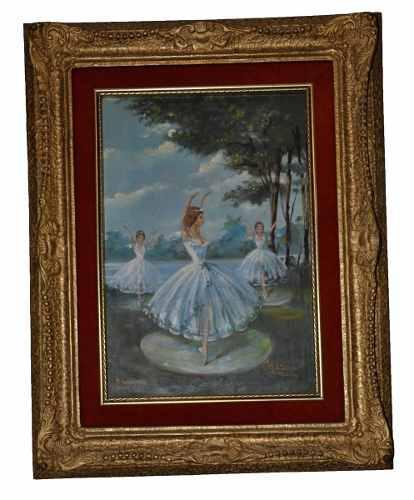 Original firmado antiguo oleo ballerinas