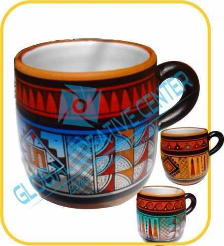 Taza cerámica pintado a mano con loza por dentro