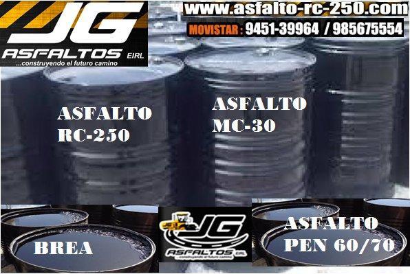 asfalto rc-250, asfalto cm-30 y cemento asfaltico pen 60/70