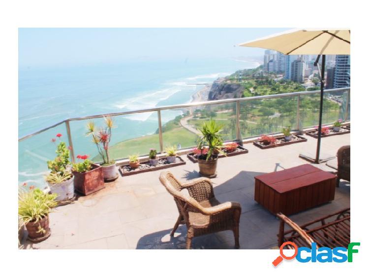 Penthouse en venta en miraflores con vista al mar terrazas 3 dormitorios
