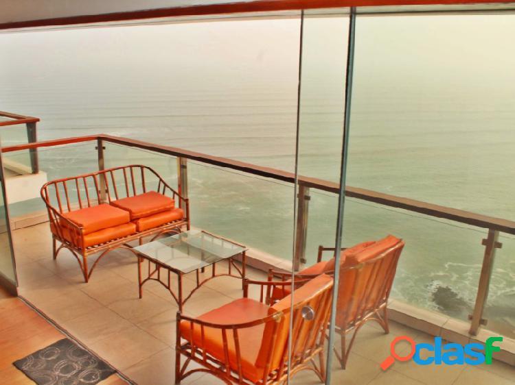 Departamento en alquiler en miraflores hermosa vista mar 3 dormitorios terraza amoblado