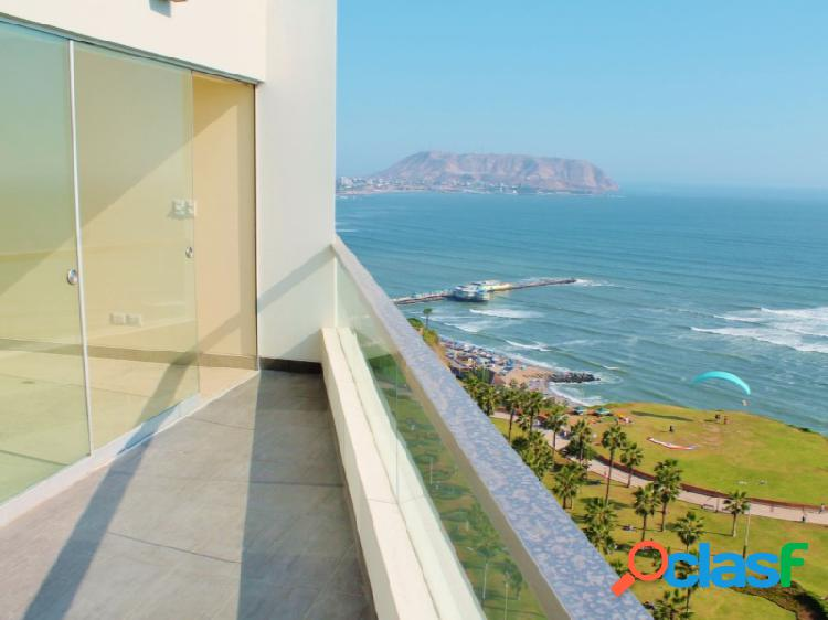 Penthouse duplex amoblado en alquiler con vista al mar miraflores
