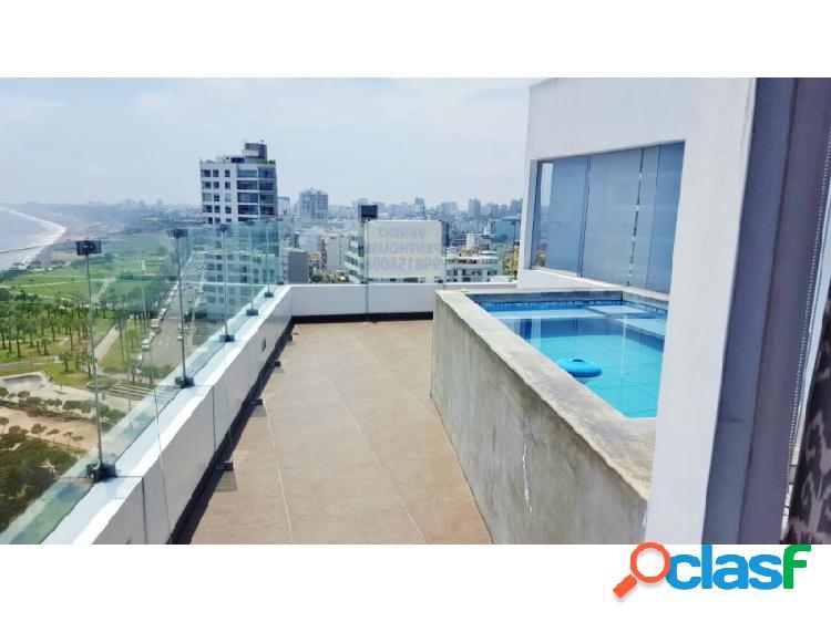 Penthouse en venta en miraflores - bellisimo vista al mar 3 dormitorios piscina terraza