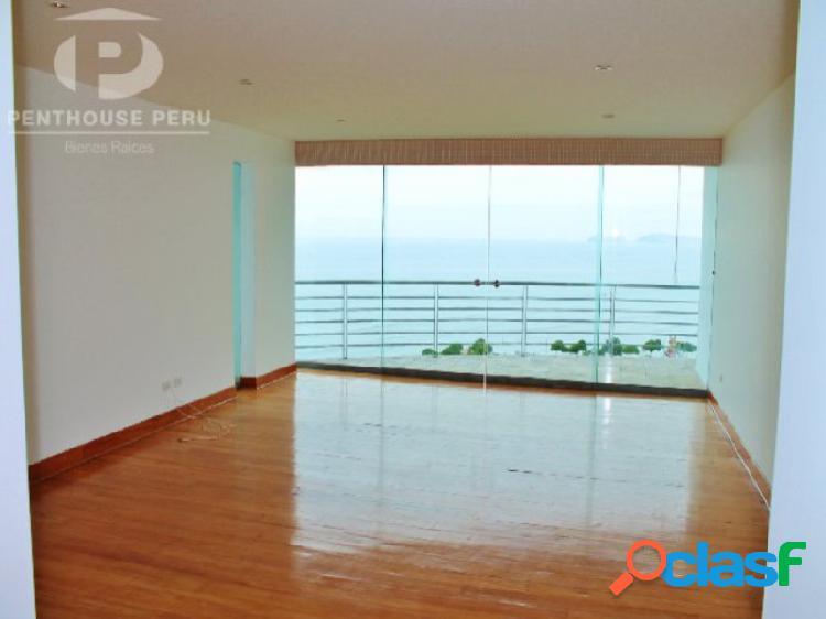 Alquiler departamento en Miraflores Vista al Mar terraza 3 dormitorios Piscina