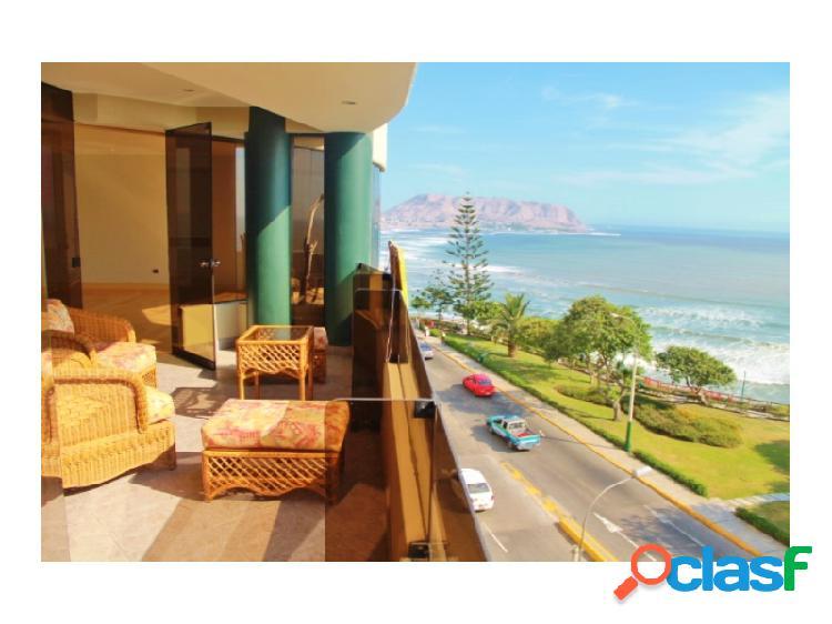 Departamento en Alquiler con Vista al mar en Miraflores Excelente ubicación cerca a Larcomar, terraza
