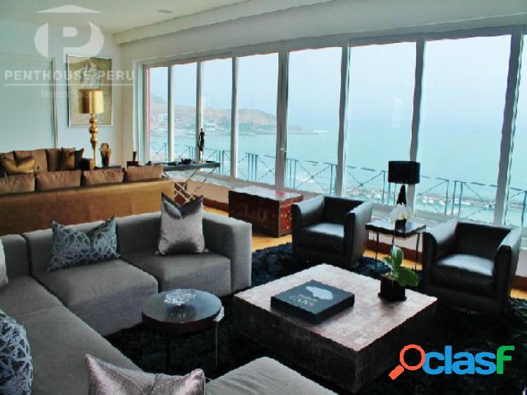 Penthouse en venta en barranco - acantilado vista al mar 4 dormitorios terrazas diseño mario lara