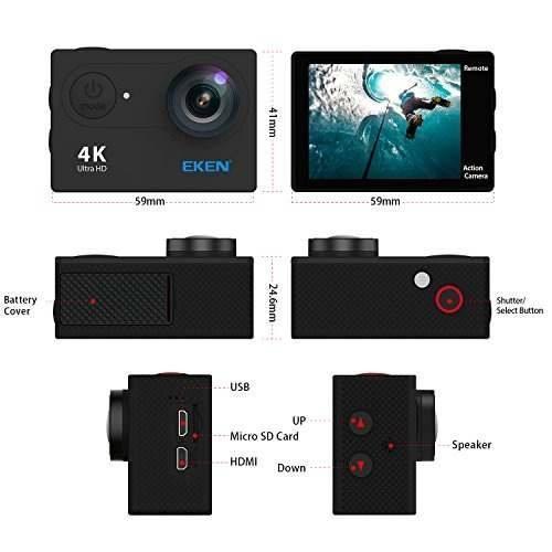 Eken h9r 4k cámara de acción, full hd wifi impermeable
