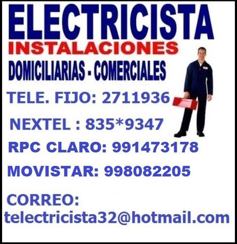 Electricidad en general tomacorrientes interruptores 24hrs