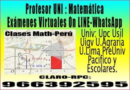 Profesor uni de matematicas - escolares y pre universitarios