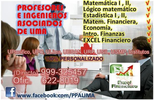Profesor matematica financiera, estadistica, finanzas