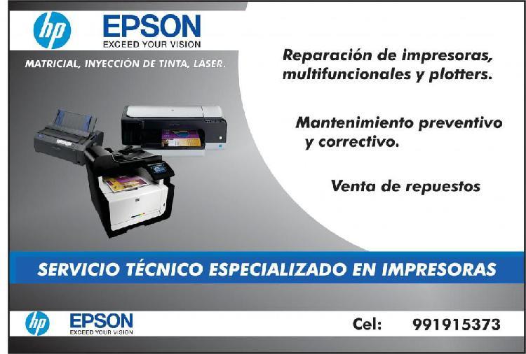 Servicio técnico de impresoras hp y epson / venta de