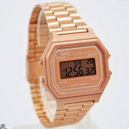 el más nuevo 00847 6312b Reloj Digital Q&q Para Mujer Color Oro Rosa Acero Inoxidable