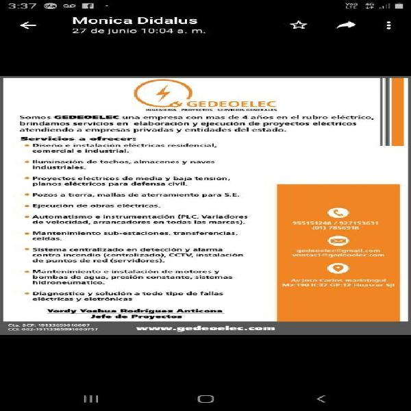 Electricista industrial gedeoelec eirl