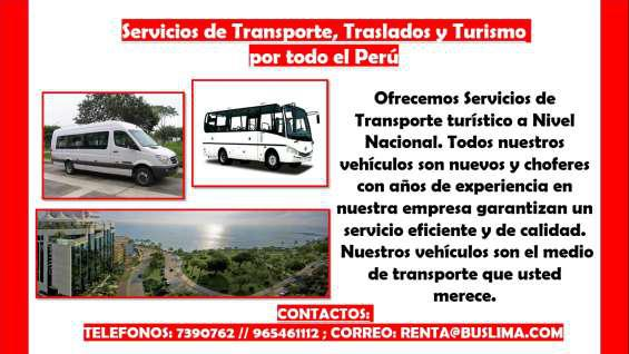 Servicios de transporte, traslados y turismo por todo el