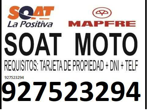 Soat para moto mecánica, automática, lineal, scooter.