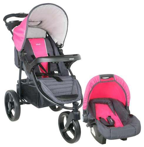 Coche travel system infanti tizzy p60 race rosado