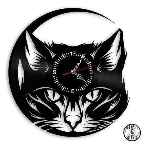 Gato reloj de pared y escritorio disco vinilo animales