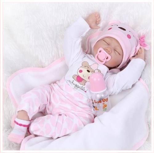 Bebe niña reborn muñeco realista de vinilo siliconado