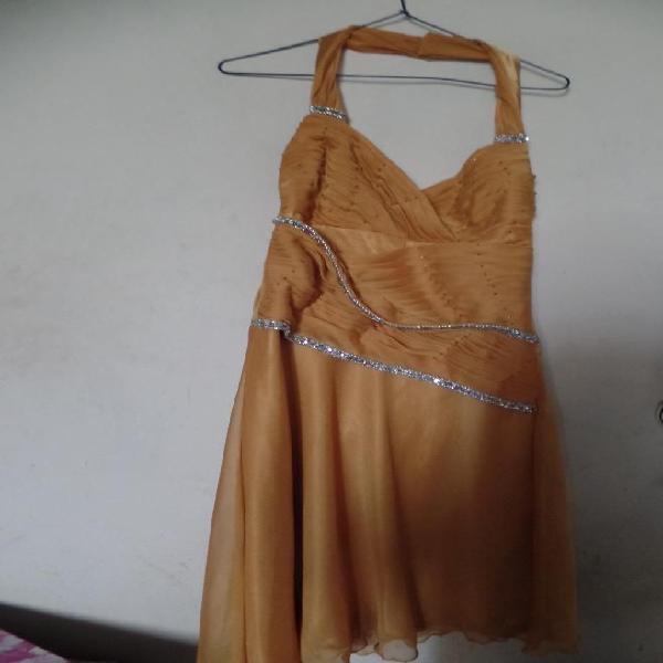 Vestido de Fiesta Mostaza de Mujer