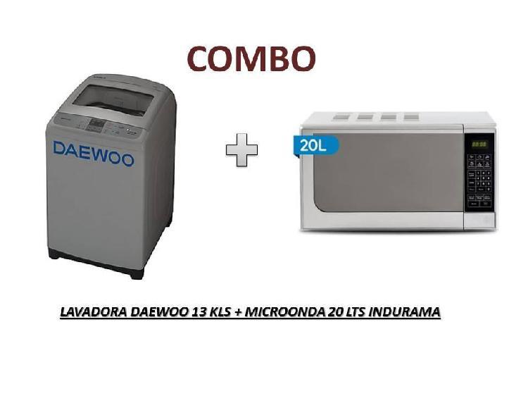 Lavadora daewoo 13 kg microonda indurama 2o litros nuevo