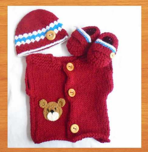 Bebe crochet conjunto y chenille 0-3 mese regalo baby shower