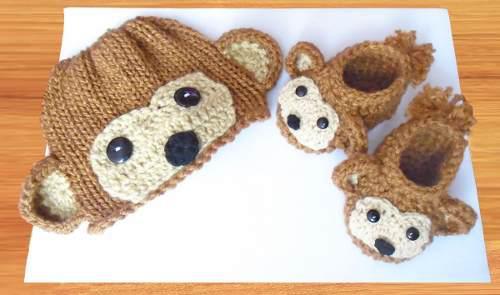 Bebe crochet zapatitos gorrito talla 0 a 3 meses baby shower