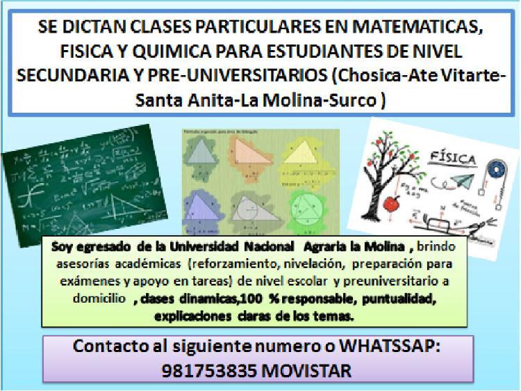 Clases particulares de matematicas, fisica y quimica a