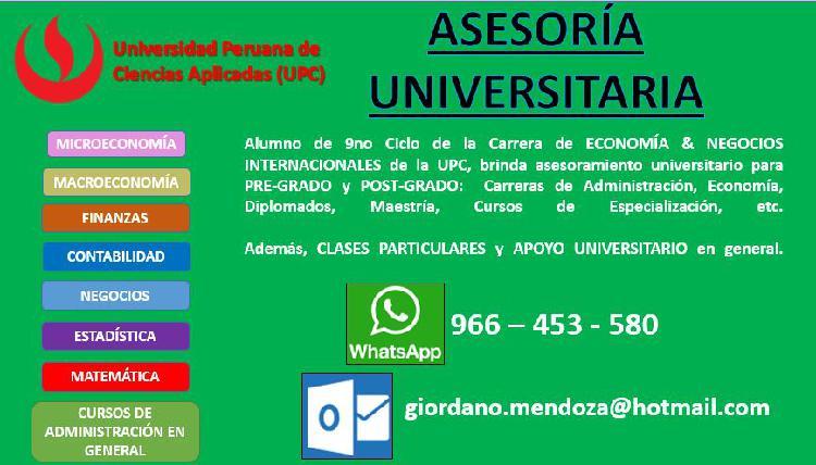 Clases y asesoria universitaria // micro macro finanzas //