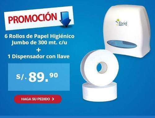 Papel higienico jumbo caja x 6 rollos + dispensador gratis