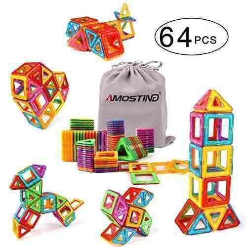 Bloques construccion magneticos 3d niños kidcheer 64 piezas