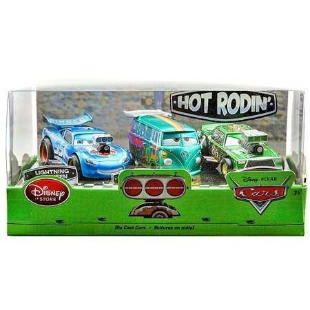 Cars disney hot roddin set de 3 mcqueen, fillmore y chick
