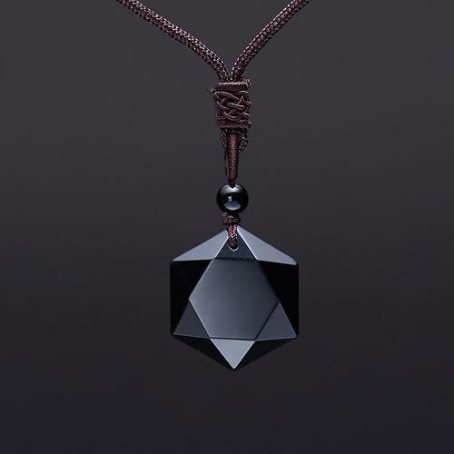 Colgante amuleto de piedra natural obsidiana negro