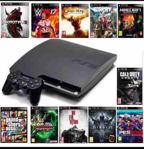 Playstation 3 slim 500gb flasheado + 30 juegos * seminuevo