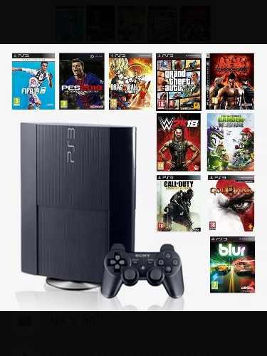 Ps 3 super slim 500 gb mas mando original y 34 juegos