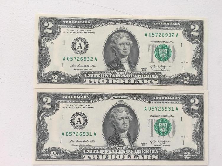 2 billetes nuevos 2 dolares numeracion consecutiva perfectos