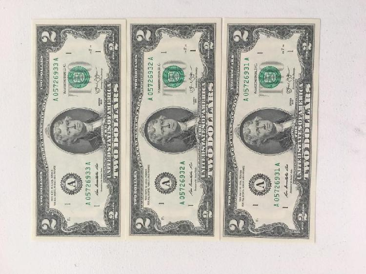 3 billetes nuevos 2 dolares numeracion consecutiva perfectos